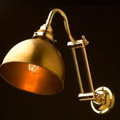 Two bTwo bend adjustable solid brass arm wall light polished brass domeend adjustable solid brass arm wall light long setting