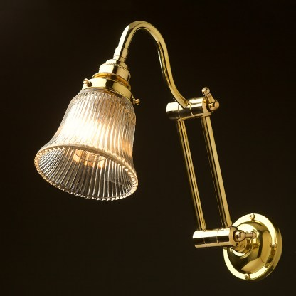 Two bend adjustable solid brass arm wall light holophane bell