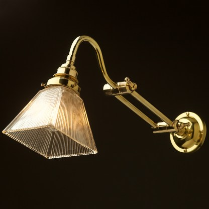Two bend adjustable solid brass arm wall light long setting
