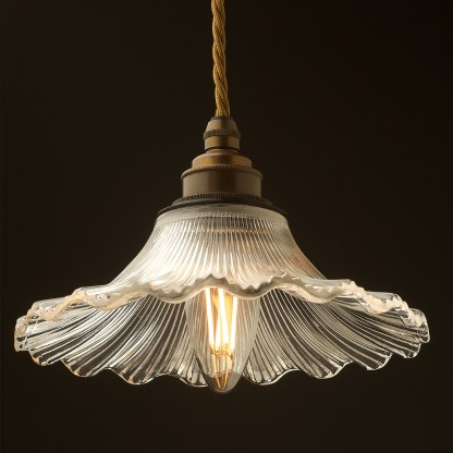 195mm clear petticoat shade pendant antique brass