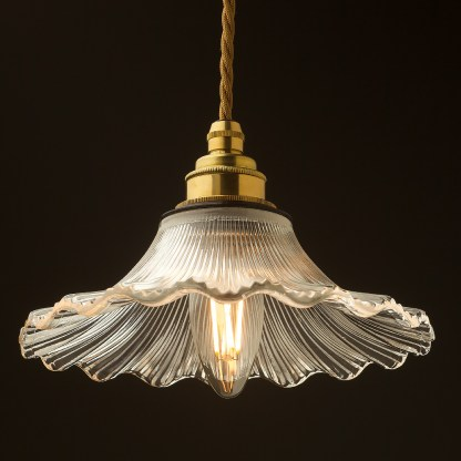 195mm clear petticoat shade pendant new brass