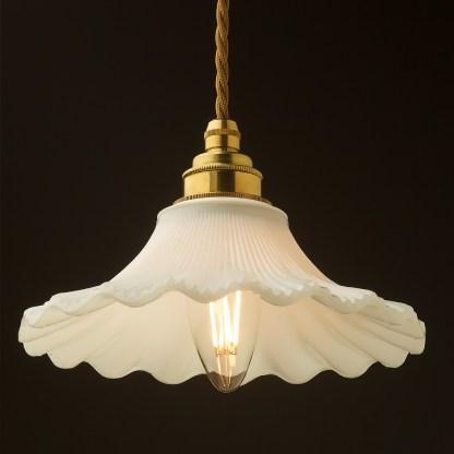 195mm white petticoat shade pendant new brass