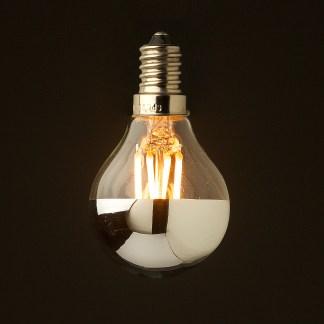 3 Watt Dimmable Filament LED E14 G45 crown silver globe