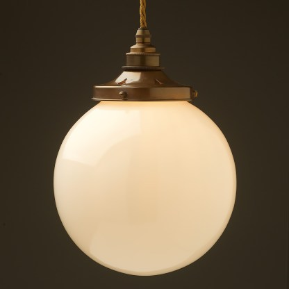 200mm Opal spherical glass pendant antique brass