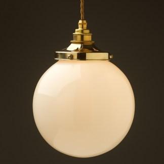 200mm Opal spherical glass pendant new brass