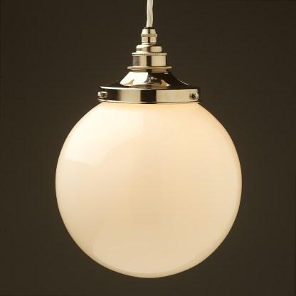 200mm Opal spherical glass pendant nickel