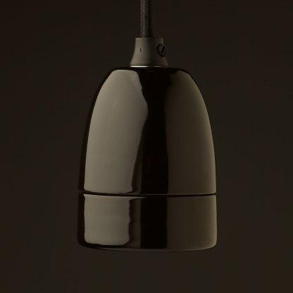 Black porcelain lamp holder Edison E40