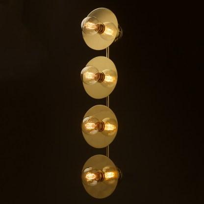 Four globe brass wall mount 180mm disc light G80 spiral