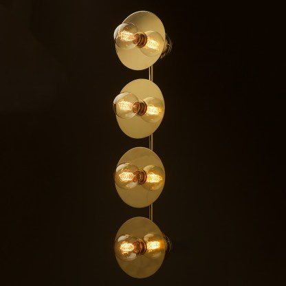 Four globe brass wall mount 180mm disc light G80 spiral