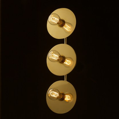Three globe brass wall mount 180mm disc light Edison LED spiral
