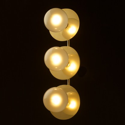 Three globe brass wall mount 180mm disc light G125 pearl