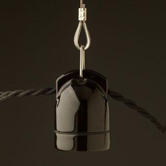Black twin entry Porcelain E27 festoon lamp holder