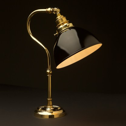 Brass small shade coventry bend bench light black dome