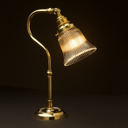 Brass small shade coventry bend bench light holophane bell