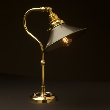 Brass small shade coventry bend bench light steel hat