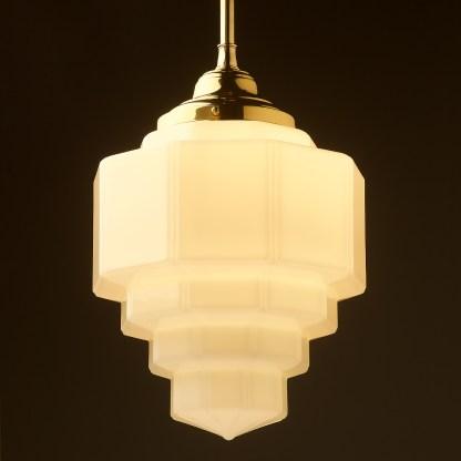 300mm wide Art Deco long opal glass brass fixed rod light new brass