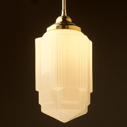 400mm tall Art Deco long opal glass brass fixed rod light new brass