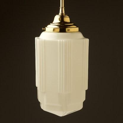400mm tall Art Deco long opal glass brass fixed rod light off