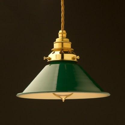 8 inch Green Coolie light shade pendant new brass