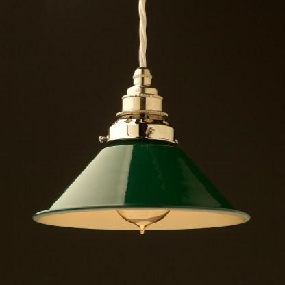 8 inch Green Coolie light shade pendant nickel