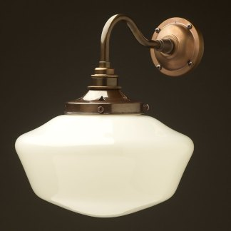 Brass Coventry schoolhouse shade wall light