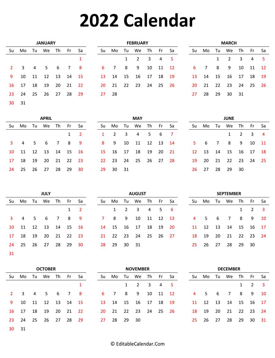 Print free calendar 2022 source: 2022 Calendar (Portrait Orientation)
