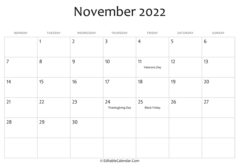 It seems like everyone is busier these days, and keeping up with everything from work deadlines to kids' sports practices to your pet's vet appointments can make things complicated — there's a lot to juggle, after all. Editable Calendar November 2022