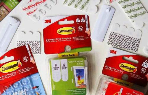 Command Hooks and Command Strips packs closeup