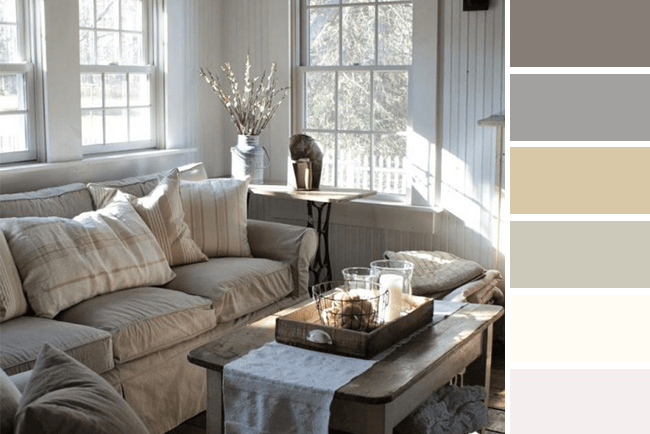 Neutral fall color tones in living room