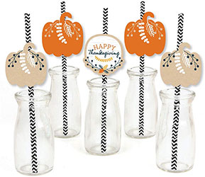 Fall Harvest Party Striped Decorative Straws