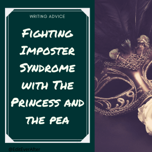 """Captioned """"fighting imposter syndrome with the princess and the pea"""" with an image on the right hand side with a gold mask that has dark feathers on the top."""