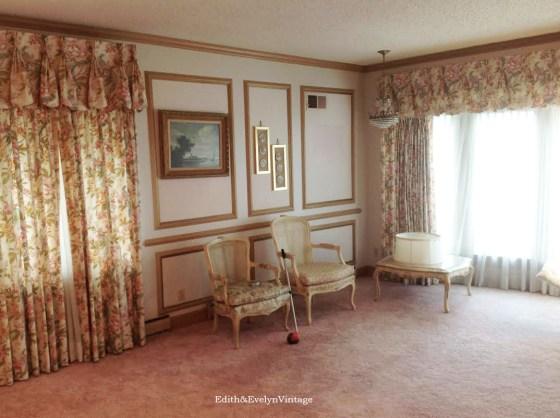 Formal living room with original pink shag carpet......