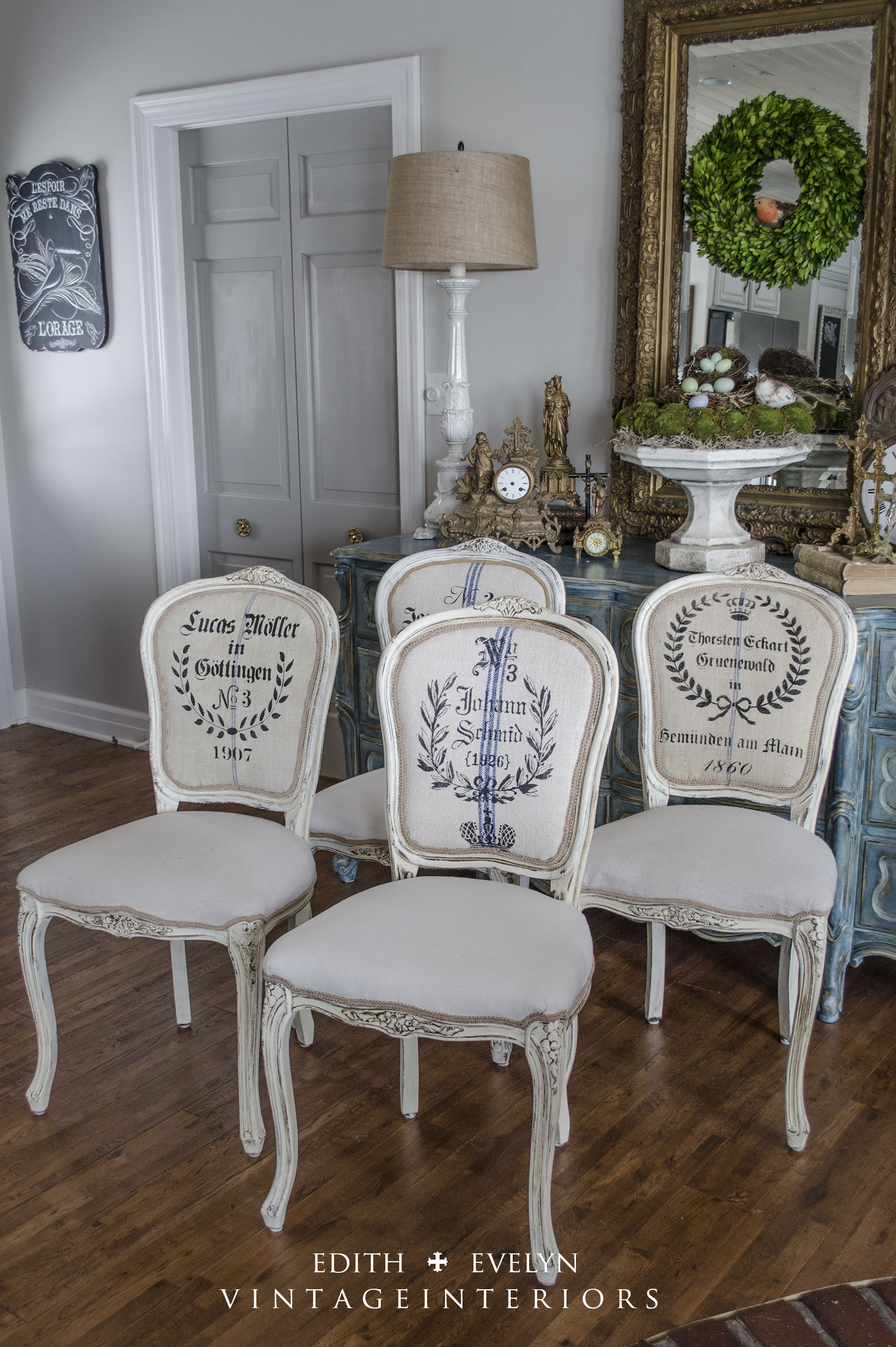 French Grain Sack Dining Chairs Edith Amp Evelyn