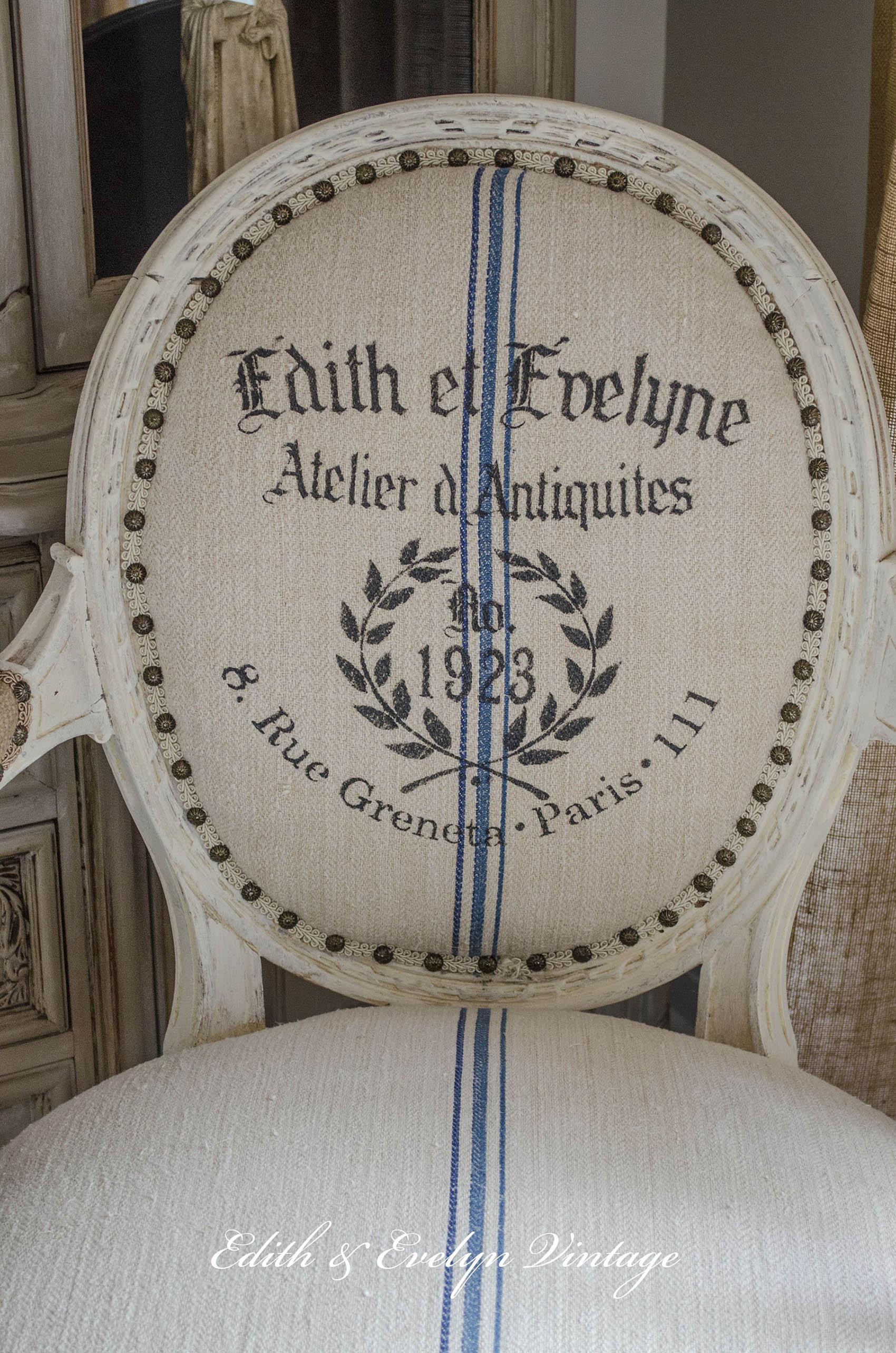A French Chair A Grain Sack And A Stencil Edith