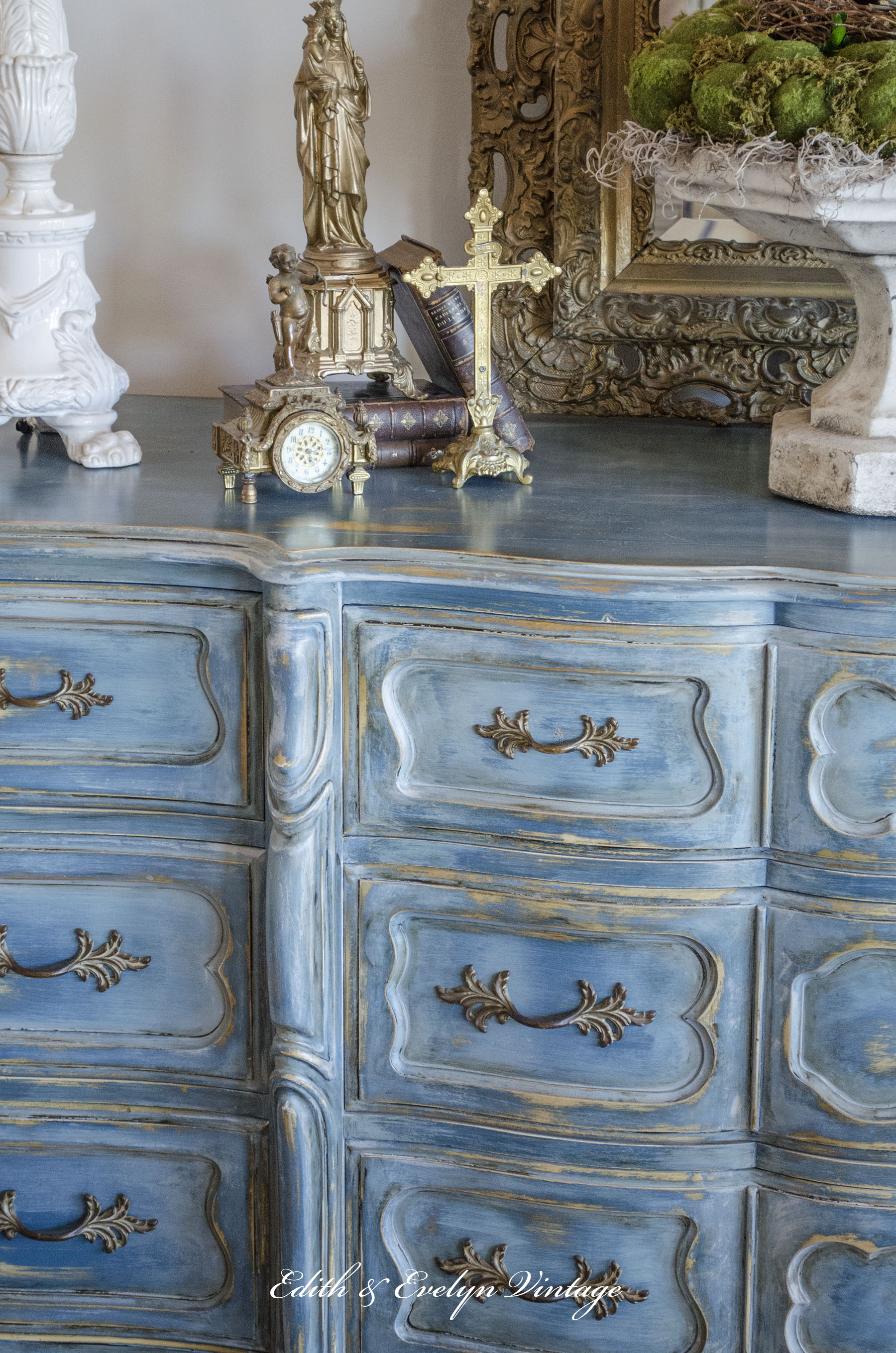 A blue french provincial dresser edith evelyn for French provincial colors