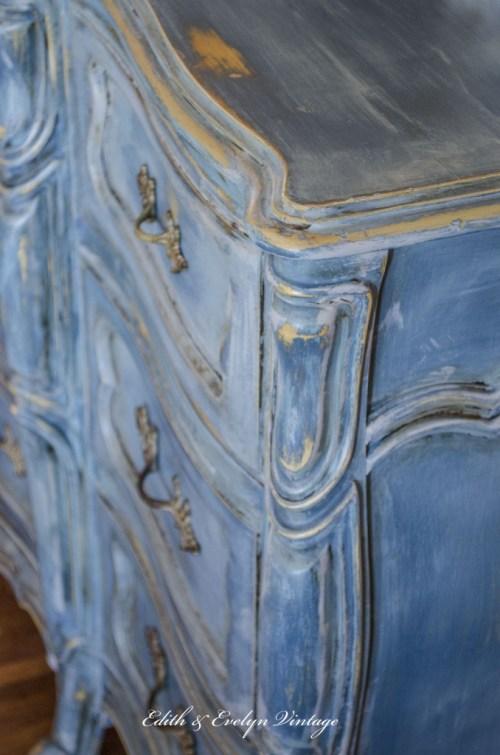 A Blue French Provincial Dresser | Edith & Evelyn | www.edithandevelynvintage.com