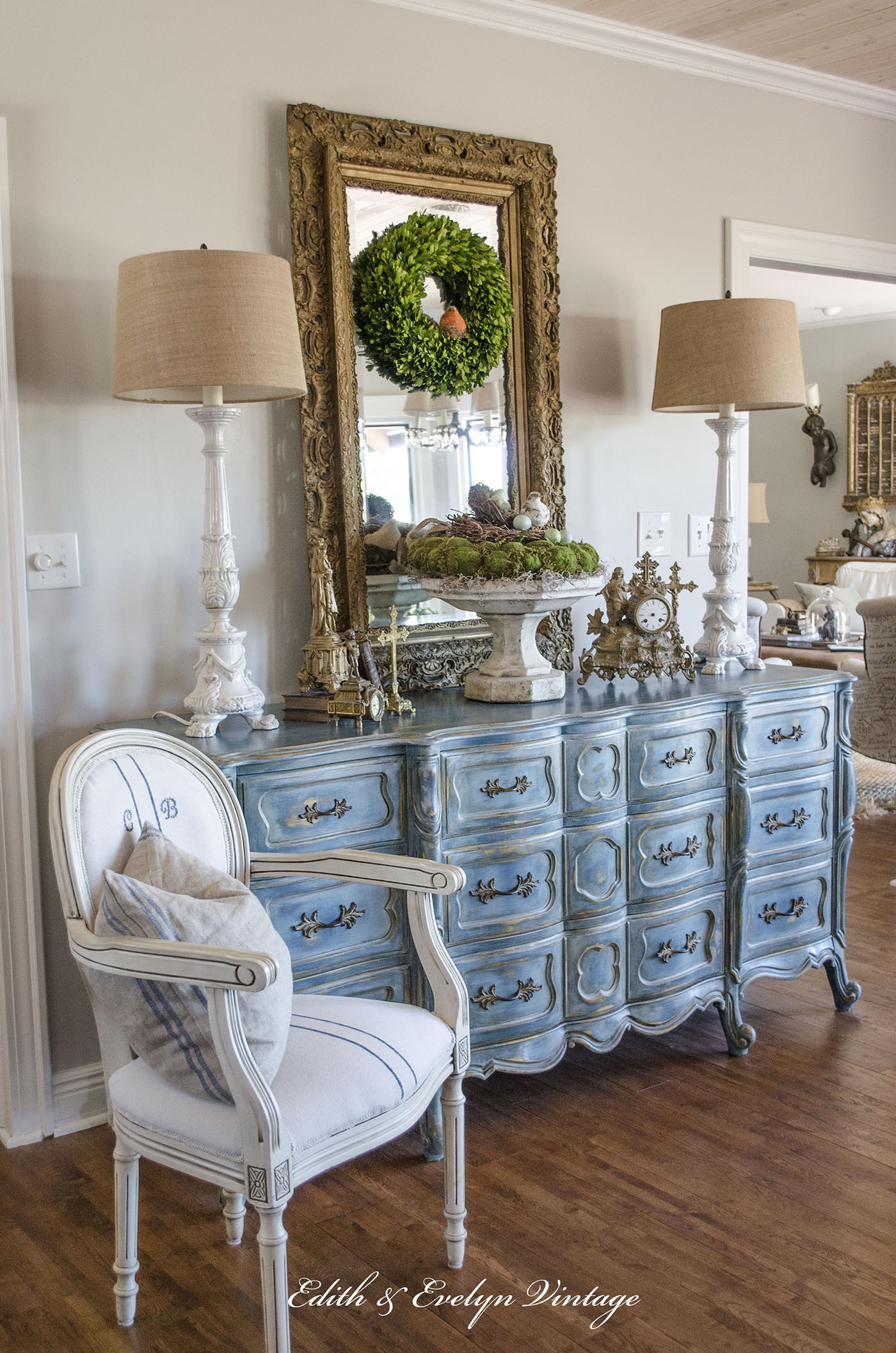 A Blue French Provincial Dresser