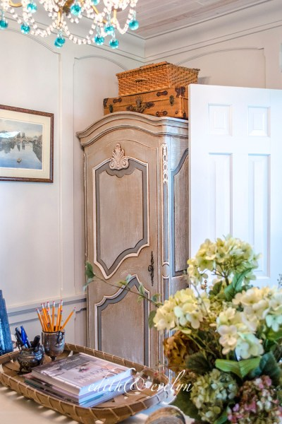 French Armoire in the Study | Edith & Evelyn | www.edithandevelynvintage.com