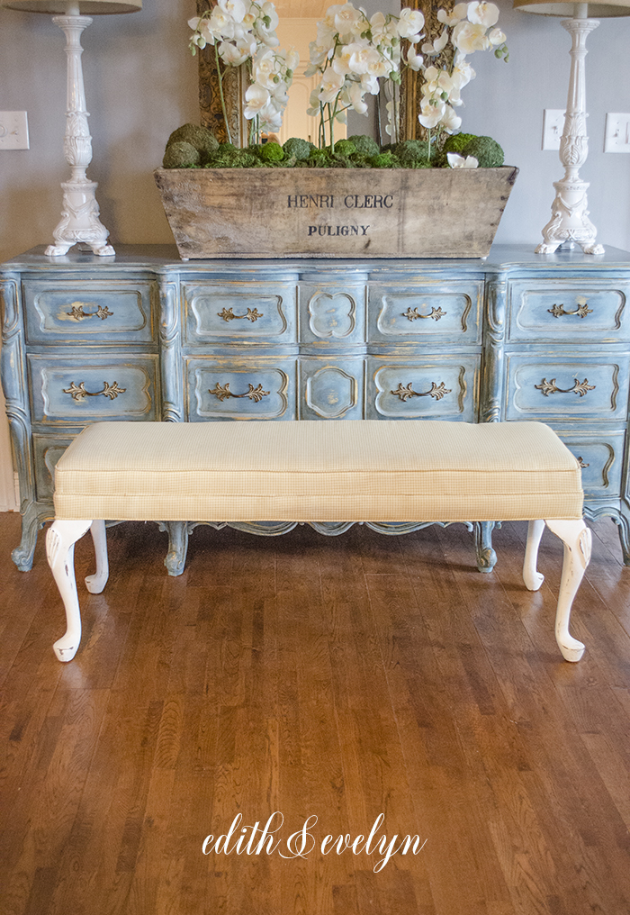 A French Provincial Bench and Buffalo Plaid   Edith & Evelyn   www.edithandevelynvintage.com