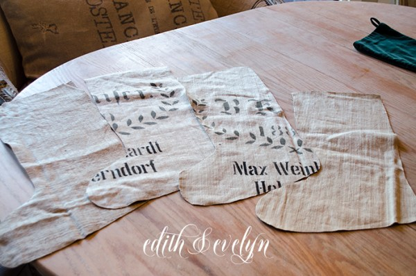 DIY Grain Sack Stocking | Edith & Evelyn | www. edithandevelynvintage.com