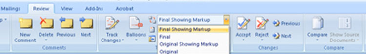 Microsoft Word 2010 Mark-Up Options
