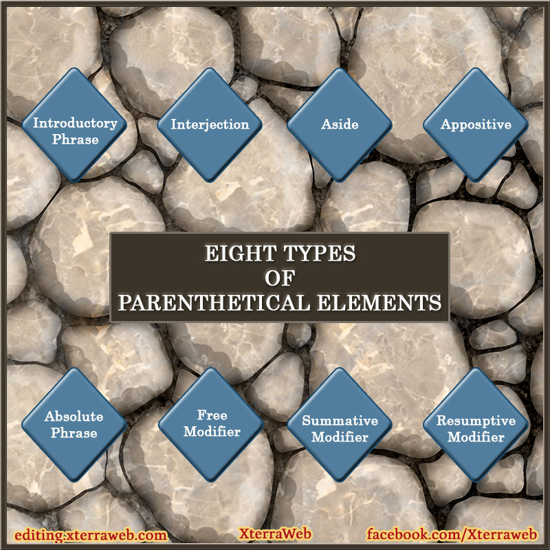 Parenthetical elements. Types and explanations.