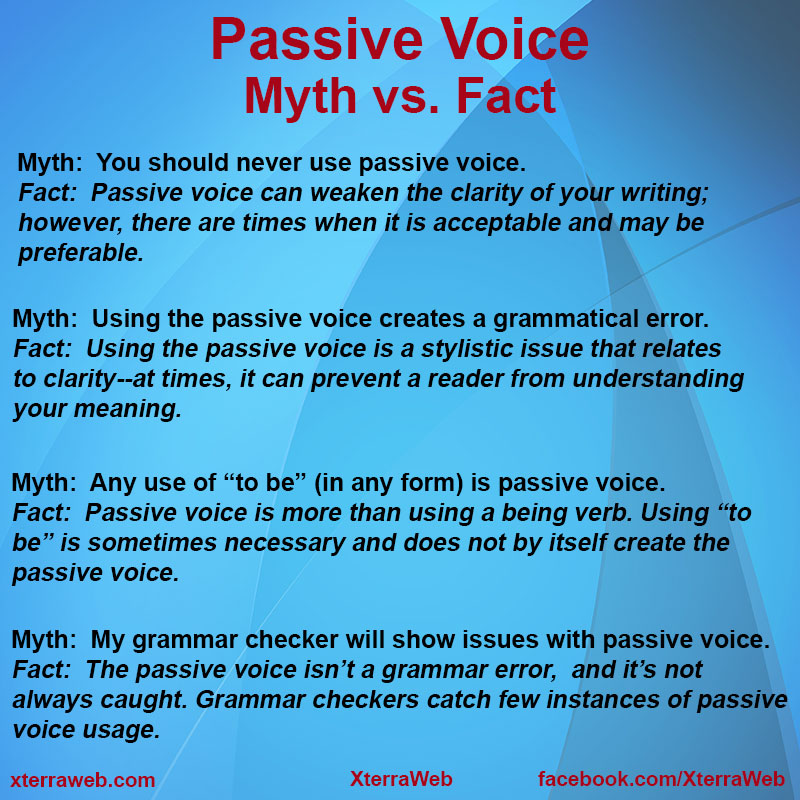 Passive Voice:  Myth vs. Fact article by Kelly Hartigan of XterraWeb