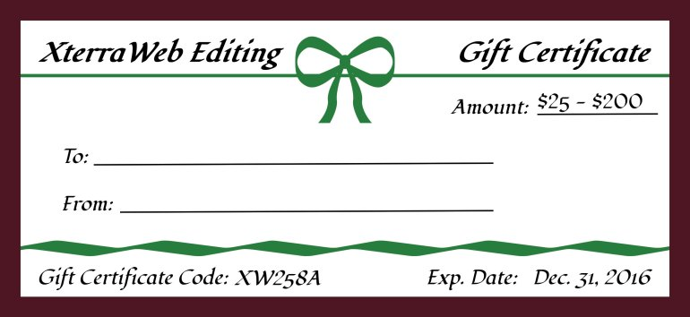 XterraWeb Editing Gift Certificate Sample $25 to $200