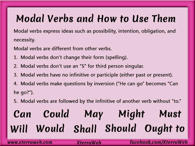 Modal verbs and how to use them. Can, could, may, might, must, will, would, shall, should, ought to. past modals, conditional modals.