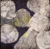 "Louanne Elliot ""Underneath We Are the Same"" etching, collograph & stencil 5x5 inches"