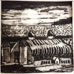 "Kathleen Wilkins ""Day Barn Lake Mich."" etching & aquatint 5x5 inches"