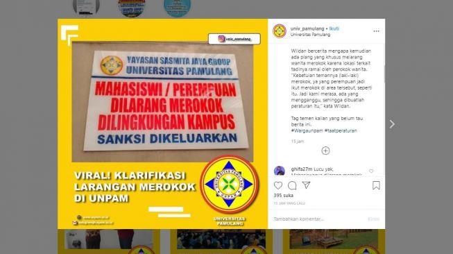 Heboh Mahasiswi Dilarang Merokok di Universitas Pamulang