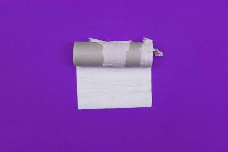 Eine Rolle Klopapier liegt auf einem Hintergrund in der Farbe Lila. An der Klorolle hängt nur noch ein einzelnes Blatt.