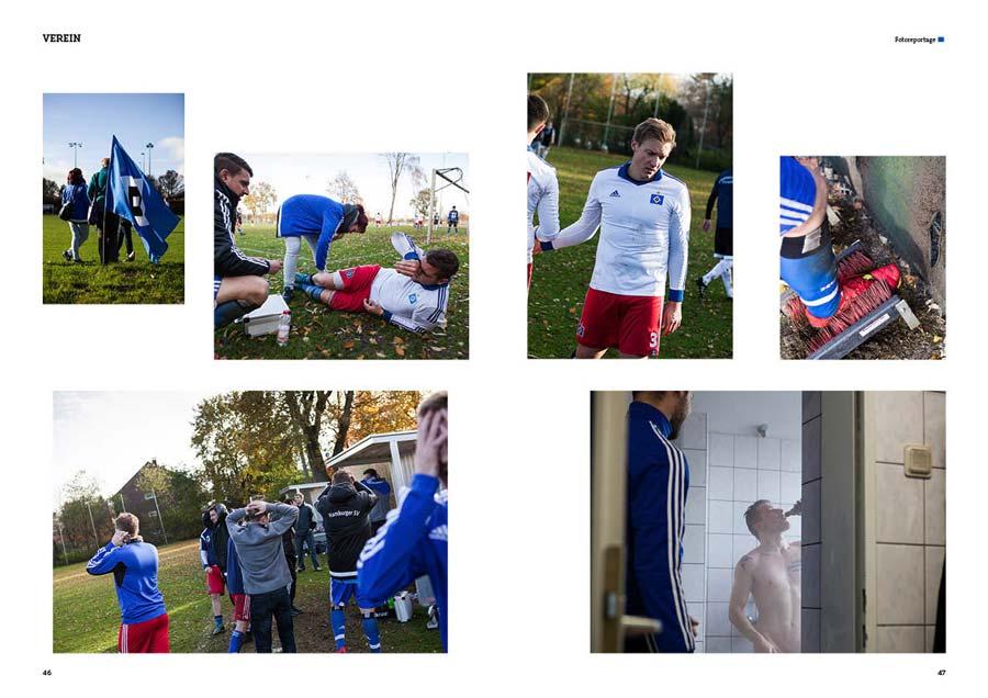 HSV-Fans stehen mit einer Fahne am Spielfeldrand. Ein Spieler wird während des Spiels neben der Außenlinie behandelt. Spieler und Trainer auf der Ersatzbank schlagen die Hände über dem Kopf zusammen. Ein HSV-Spieler klatscht mit seinem Gegenspieler ab. Nach dem Spiel werden die Schuhe gesäubert. Unter der Dusche gibt's ein Bier.